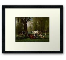 Landscape with Cattle and Sheep, 1852-8 Framed Print