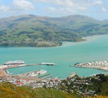 Lyttelton, New Zealand. Harbour as seen from mount Pleasant  Sticker