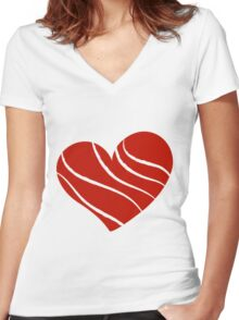 Valentine day doodle hearts Women's Fitted V-Neck T-Shirt
