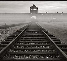 Death Gate - Auschwitz Birkenau - early morning by Peter Harpley