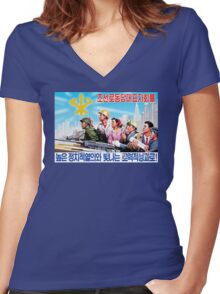 North Korean Propaganda - All Together Women's Fitted V-Neck T-Shirt