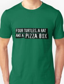 Four Turtles, a Rat and a Pizza Box T-Shirt