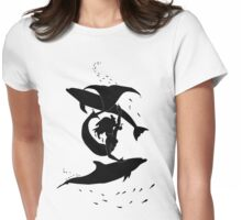 Mermaid playing with Dolphins Womens Fitted T-Shirt