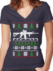 LIKE THE AR 15 CHRISTMAS Women's Fitted V-Neck T-Shirt