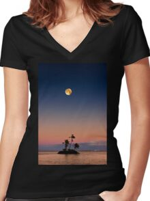 6:46 PM Kahala Time Women's Fitted V-Neck T-Shirt