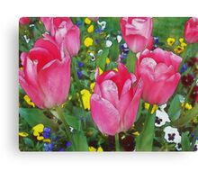 Family Of Tulips (Watercolor) Canvas Print