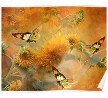 Sunflowers & Butterflies Poster
