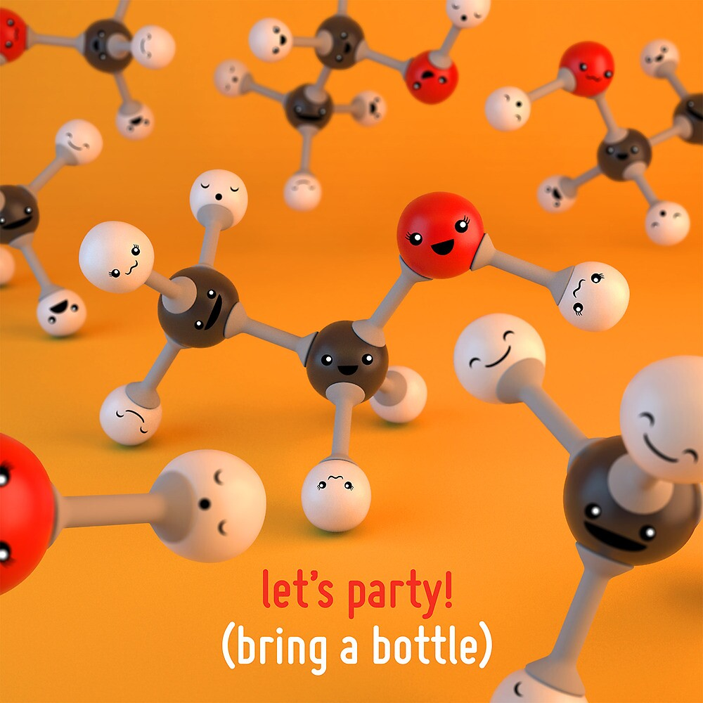 Let's Party - Ethanol Molecule - Cute Chemistry by chayground