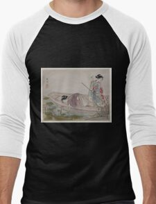 Two women gathering lotus blossoms 001 Men's Baseball ¾ T-Shirt
