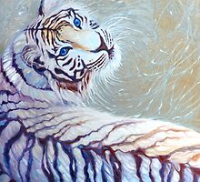 white tiger with blue eyes by Gill Bustamante