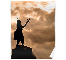 Inca King Silhouette Poster