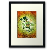 Irish Leprechaun Dancing and Singing Framed Print