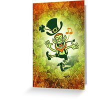 Irish Leprechaun Dancing and Singing Greeting Card