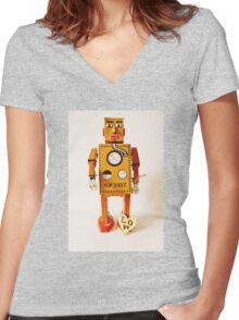 Robo Just Wants To Be Loved. Women's Fitted V-Neck T-Shirt