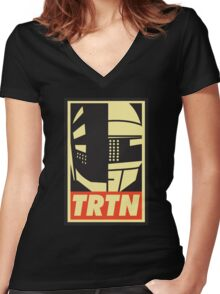 TRTN Women's Fitted V-Neck T-Shirt