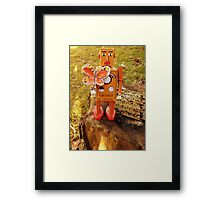 Robot Gets Down With Nature. Framed Print