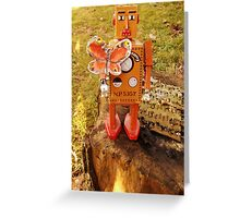Robot Gets Down With Nature. Greeting Card