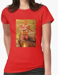 Robot Gets Down With Nature. Womens Fitted T-Shirt