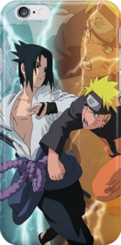 Fight- Sasuke and Naruto iPhone Case by squidkid