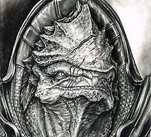 Wrex Portrait in Charcoal by efleck