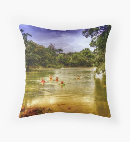 Mopan River in Bullet Tree Village - Belize, Central America Throw Pillow
