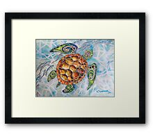 """Honu Island Waters"" Tropical Tribal Sea Turtle Painting by Christie Marie Elder-Ussher Framed Print"