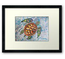 """Honu Island Waters"" Tropical Tribal Sea Turtle Painting by Christie Marie Elder-Ussher Framed Print"