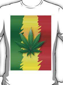 Cannabis Leaf on Rasta Flag  T-Shirt