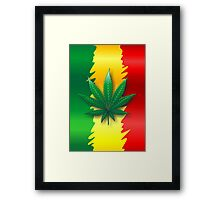 Cannabis Leaf on Rasta Flag  Framed Print