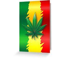 Cannabis Leaf on Rasta Flag  Greeting Card