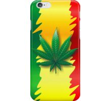 Cannabis Leaf on Rasta Flag  iPhone Case/Skin