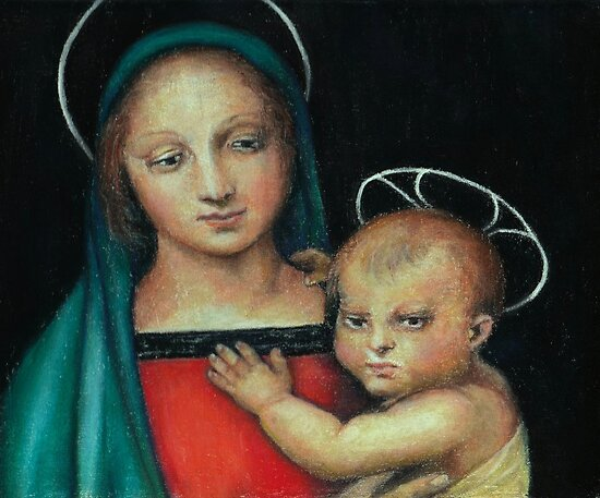 Madonna and Child, after Raphael by Pam Humbargar