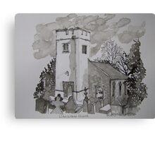 Pen and Ink-Llanarthne Church-01 Canvas Print