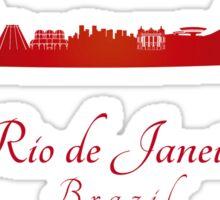 Rio de Janeiro skyline in red Sticker
