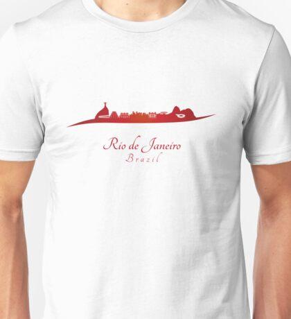 Rio de Janeiro skyline in red Unisex T-Shirt