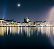 Hamburg Alster at night by Michael Abid