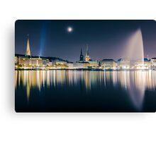 Hamburg Alster at night Canvas Print