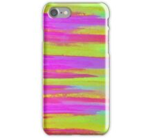 DISCO FEVER - Bright Neon Green Pink Funky Dance 70s Retro Stripes Abstract Watercolor Painting iPhone Case/Skin