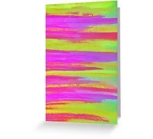 DISCO FEVER - Bright Neon Green Pink Funky Dance 70s Retro Stripes Abstract Watercolor Painting Greeting Card
