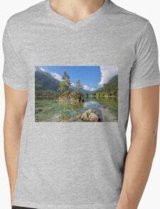 Trees on a Rock, Hintersee Mens V-Neck T-Shirt