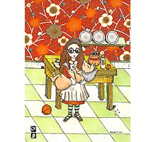 Alice and pig in kitchen Photographic Print
