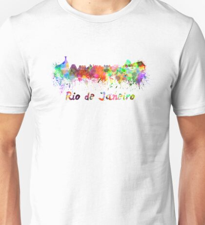Rio de Janeiro skyline in watercolor Unisex T-Shirt