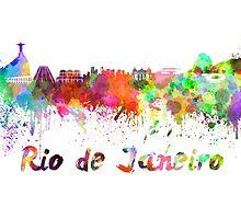 Rio de Janeiro skyline in watercolor by paulrommer