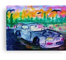 A sporty car, watercolor Canvas Print
