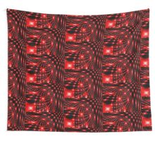 Red glowing net fractal Wall Tapestry