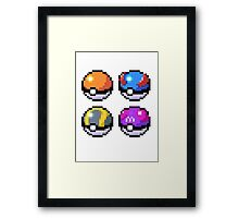 Pokeball Pixel Art  Framed Print