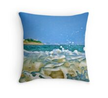 Upclose! Sea Foam In Your Face! Throw Pillow