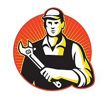 Mechanic Repairman With Adjustable Wrench Retro by retrovectors
