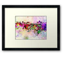 Rome skyline in watercolor background Framed Print
