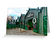 Phipps Antigua Boat Sheds and Cafe, Christchurch NZ Greeting Card